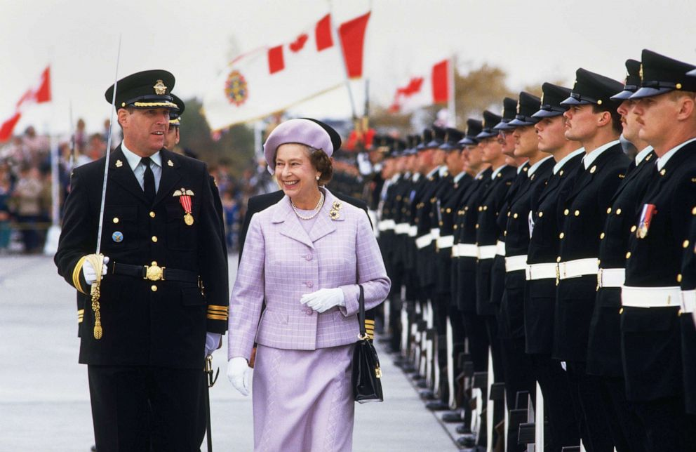 PHOTO: Queen Elizabeth II reviews the Guard of Honour at the Canadian Forces Base in Winnipeg, Canada, Oct. 7, 1984.