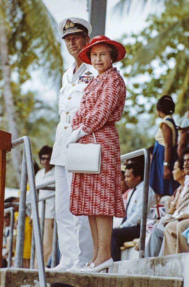 PHOTO: Queen Elizabeth II and Prince Philip, Duke of Edinburgh, watch traditional dancing in Tarawa, Kiribati, Oct. 23, 1982, during a tour of the South Pacific.
