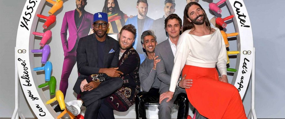 "PHOTO: From left, Karamo Brown, Bobby Berk, Tan France, Antoni Porowski, and Jonathan Van Ness attend the Netflix FYSEE ""Queer Eye"" panel and reception on May 16, 2019, in Los Angeles."