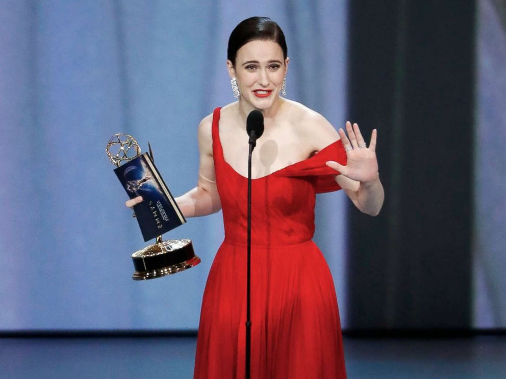 PHOTO: Rachel Brosnahan wins the Emmy for Outstanding Lead Actress in a Comedy series for The Marvelous Mrs. Maisel.