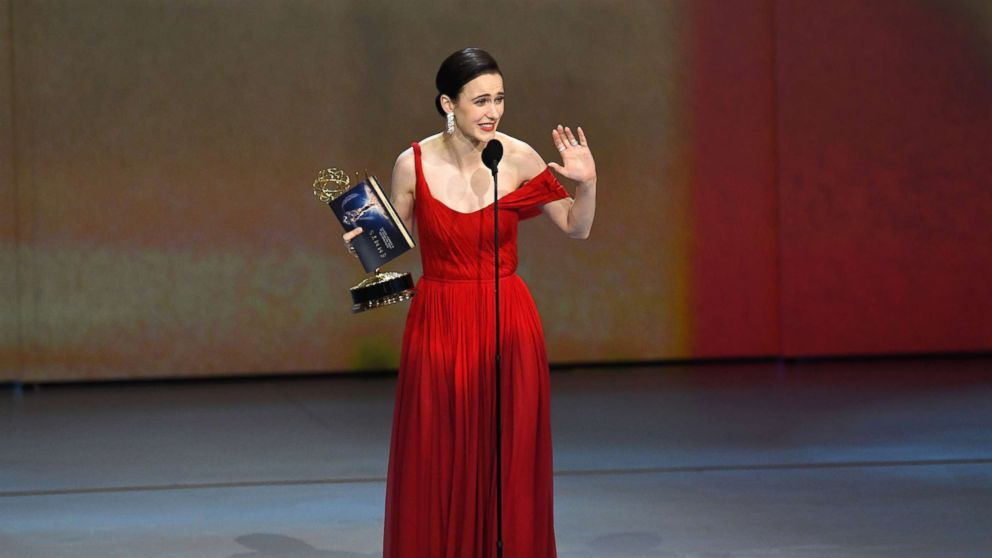 Rachel Brosnahan accepts the Outstanding Lead Actress in a Comedy Series award for 'The Marvelous Mrs. Maisel' onstage during the 70th Emmy Awards at Microsoft Theater, Sept. 17, 2018, in Los Angeles.