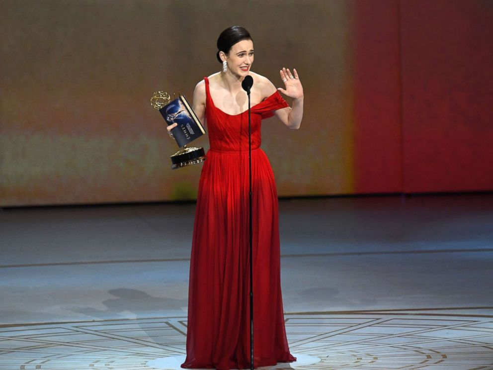 PHOTO: Rachel Brosnahan accepts the Outstanding Lead Actress in a Comedy Series award for The Marvelous Mrs. Maisel onstage during the 70th Emmy Awards at Microsoft Theater, Sept. 17, 2018, in Los Angeles.
