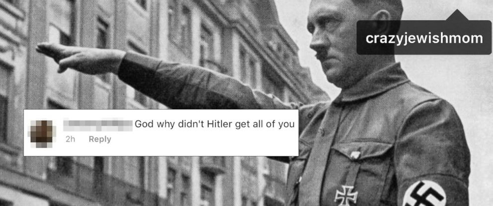 PHOTO: Kate Friedman-Siegel of @CrazyJewishMom Instagram fame said she received an anti-Semitic message with a photo of Adolph Hitler from another Instagram user.
