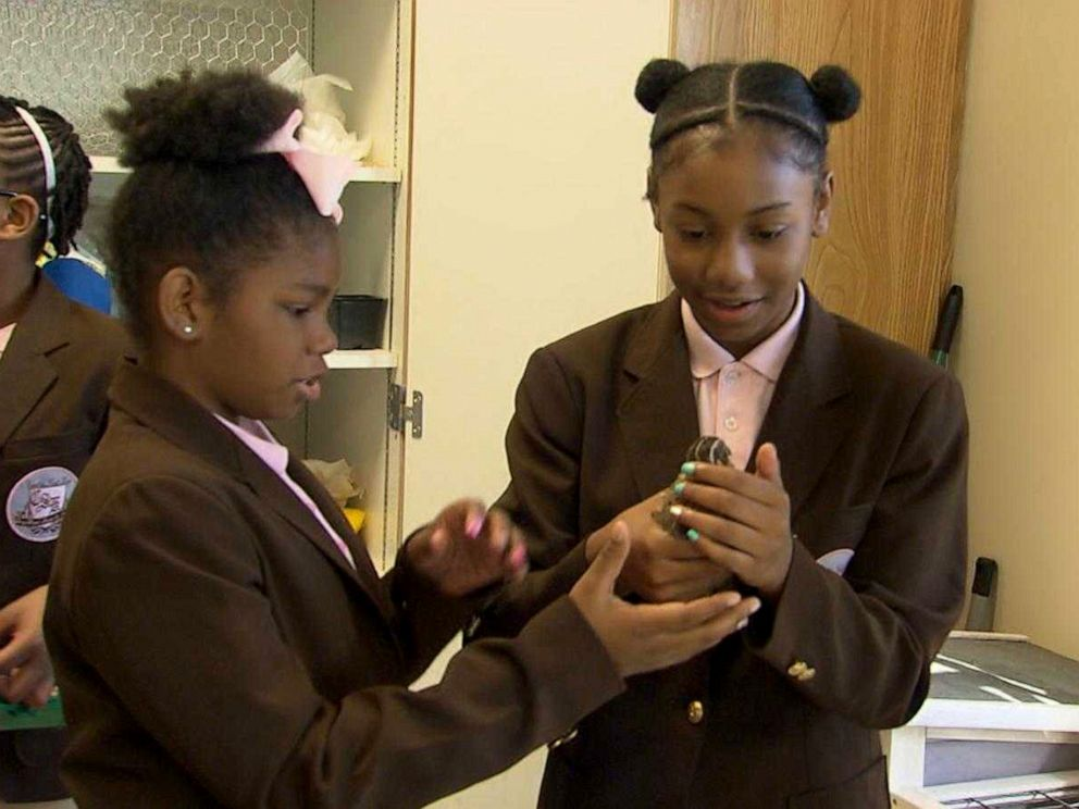 PHOTO: Sixth graders at the Coretta Scott King Young Womens Leadership Academy in Atlanta raise quails to help feed their community.