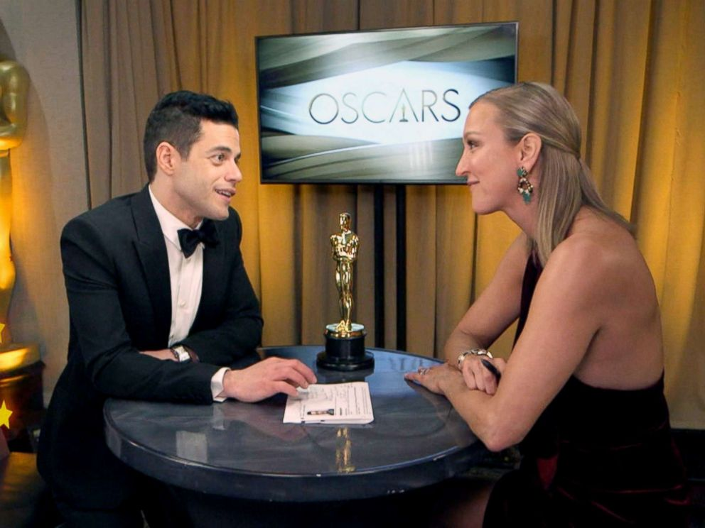 PHOTO: Rami Malek talks to ABC News after winning best actor for his role as Freddie Mercury in Bohemian Rhapsody.