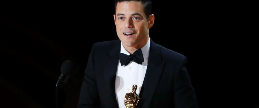 "PHOTO: Rami Malek accepts the best actor award for his role in ""Bohemian Rhapsody,"" at the 91st Academy Awards, Feb. 24, 2019."