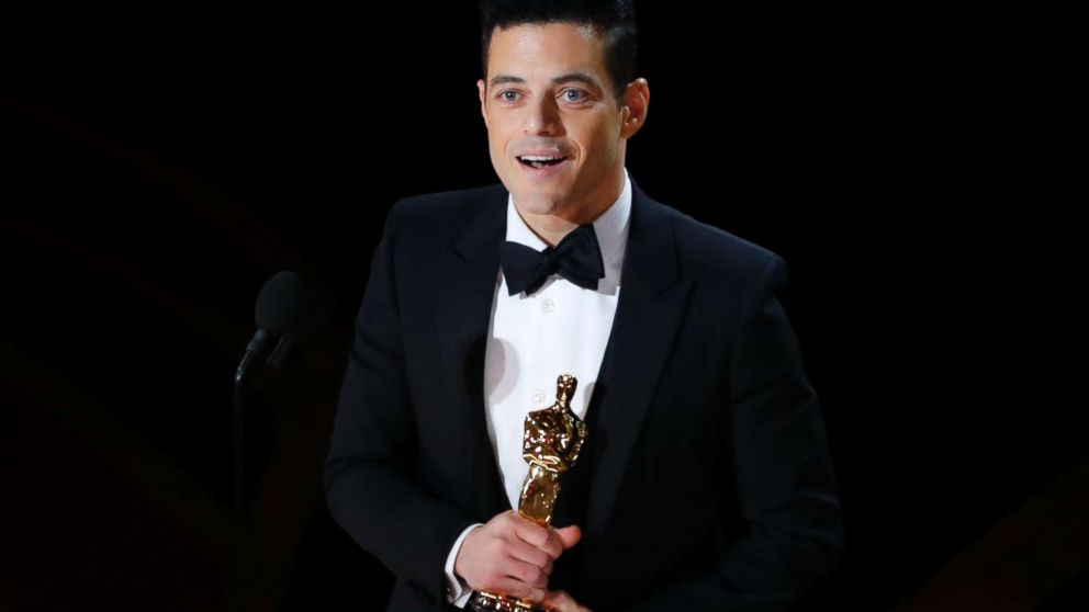 "Rami Malek accepts the best actor award for his role in ""Bohemian Rhapsody,"" at the 91st Academy Awards, Feb. 24, 2019."