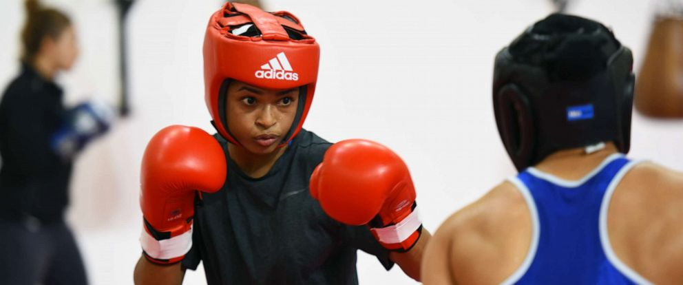 PHOTO: Somalian boxer Ramla Ali seen in action during the practice session for the upcoming AIBA Womens World Boxing Championships 2018 at IG Stadium, on November 9, 2018 in New Delhi, India.