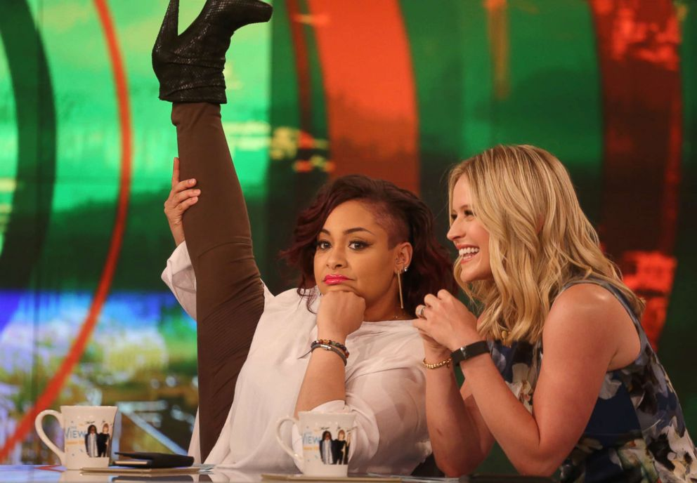 PHOTO: Raven-Symone goofs off with Sara Haines during her time as a co-host of The View.
