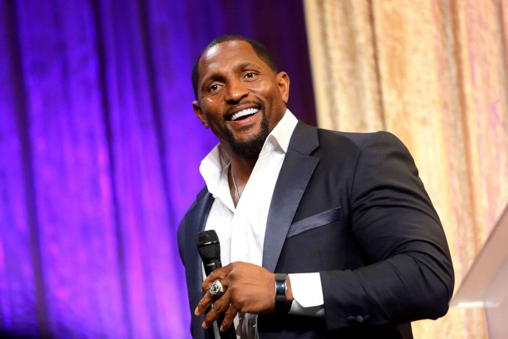 PHOTO: Ray Lewis speaks onstage during the 19th Annual Harold and Carole Pump Foundation Gala at The Beverly Hilton Hotel on August 09, 2019 in Beverly Hills, California.