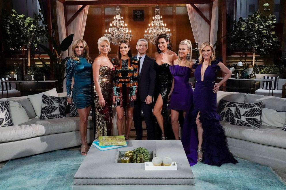 PHOTO:Sonja Morgan, Dorinda Medley, Bethenny Frankel, Andy Cohen, Luann de Lesseps, Tinsley Mortimer and Ramona Singer during the Reunion for The Real Housewives of New York City.