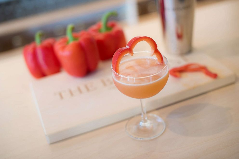 PHOTO: The Red Lady cocktail uses red bell pepper and orange bitters for a sweet and herbaceous kick.
