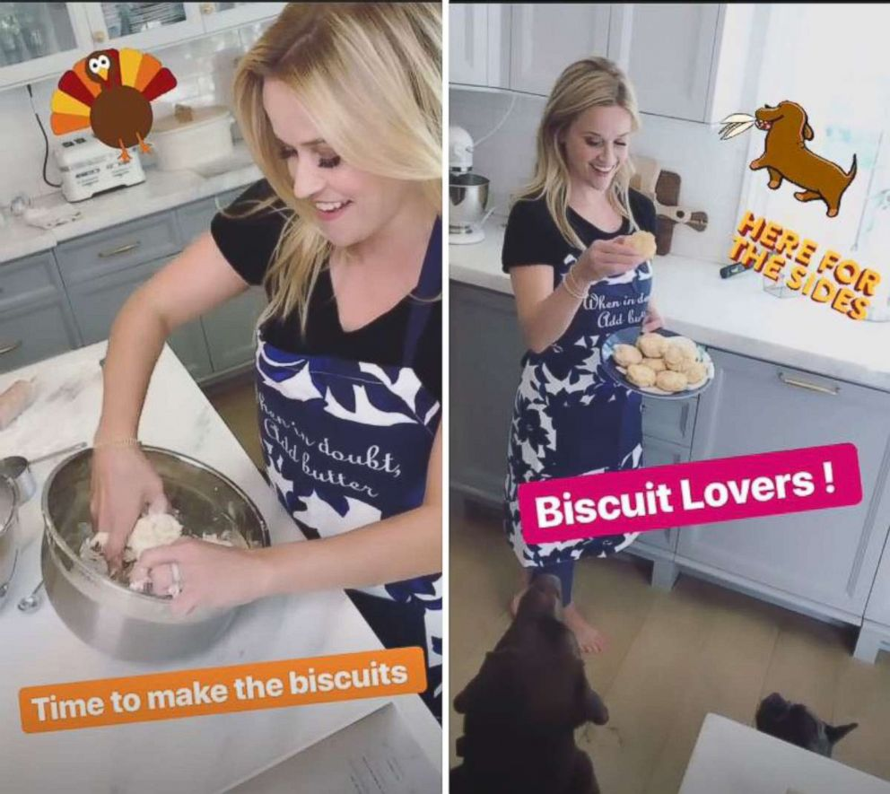 PHOTO: Reese Witherspoon began her Thanksgiving preparations by making biscuits which she shared on her Instagram stories.