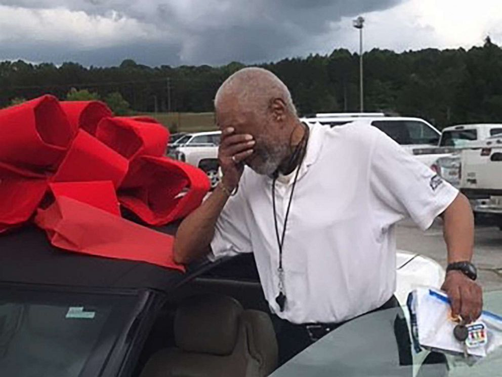 PHOTO: Lemuel Buster, a ref at Paulding County Parks and Recreation Department in Paulding County, Ga., walked out of the gym in early May 2019, and was met with a crowd of cheering community members.