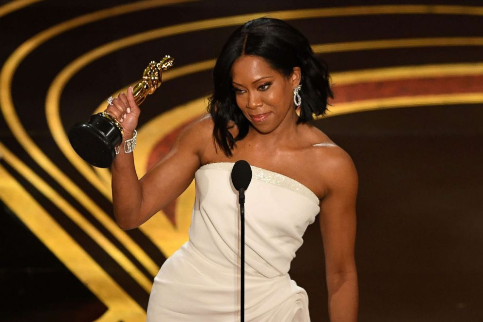 PHOTO: Regina King accepts her Oscar during the 91st annual Academy Awards at the Dolby Theatre in Hollywood, Calif., Feb. 24, 2019.