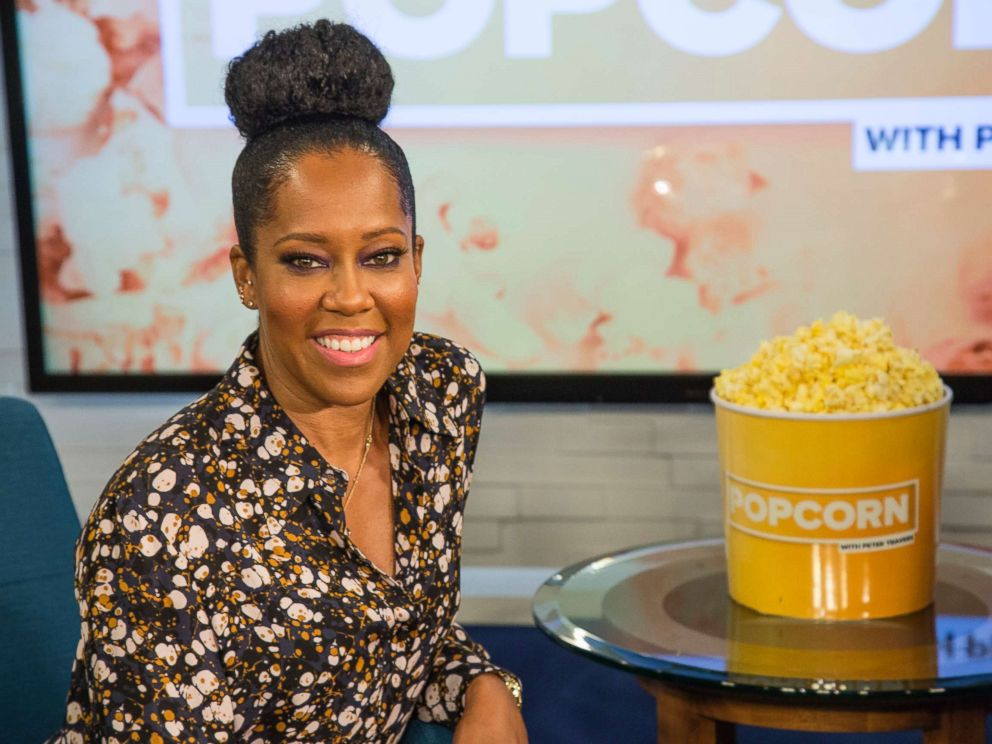 PHOTO: Regina King appears on Popcorn with Peter Travers at ABC News studios, Oct. 10, 2018, in New York City.