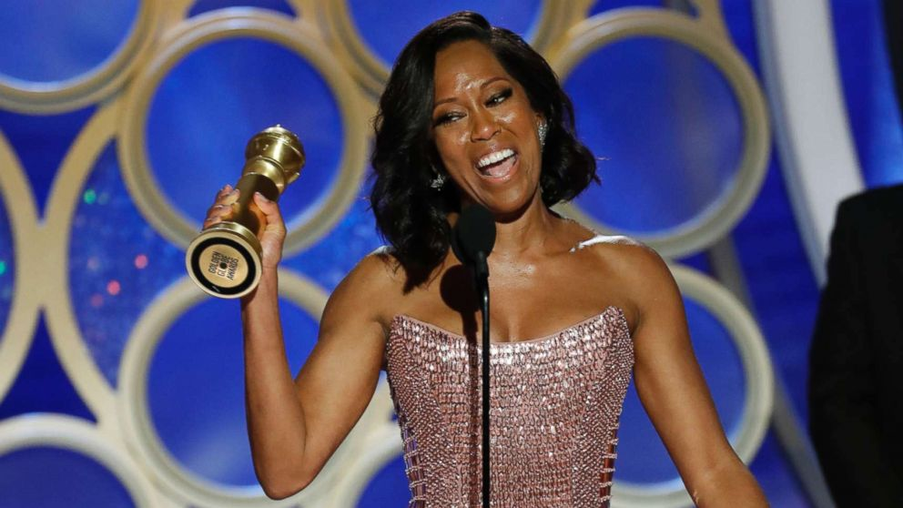 """Regina King from """"If Beale Street Could Talk"""" accepts the best actress in a supporting role in any motion picture award onstage during the 76th annual Golden Globe awards at the Beverly Hilton Hotel, Jan. 6, 2019 in Beverly Hills, Calif."""