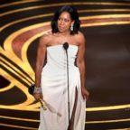 "Regina King accepts Oscar for best actress in a supporting role for ""If Beale Street Could Talk"" during the 91st Annual Academy Awards at Dolby Theatre on Feb. 24, 2019 in Hollywood, Calif."