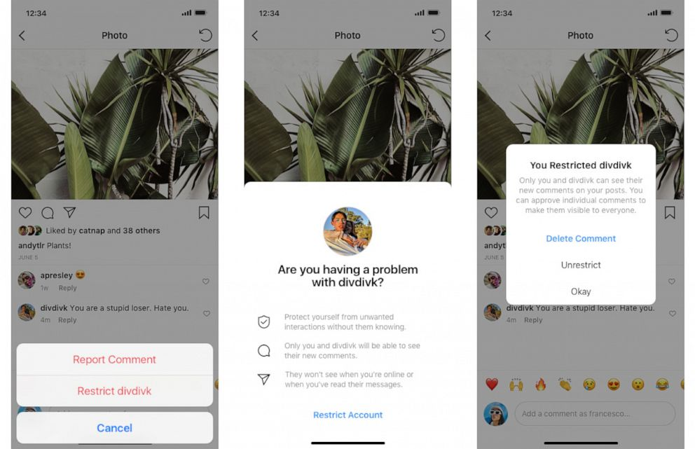 PHOTO: Instagram addresses bullying in new feature called Restrict.
