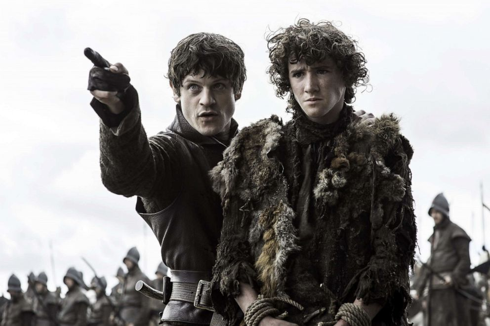 Iwan Rheon, Ramsay Bolton, left, and Art Parkinson, as Rickon Stark, in a scene from 'Game of Thrones.'