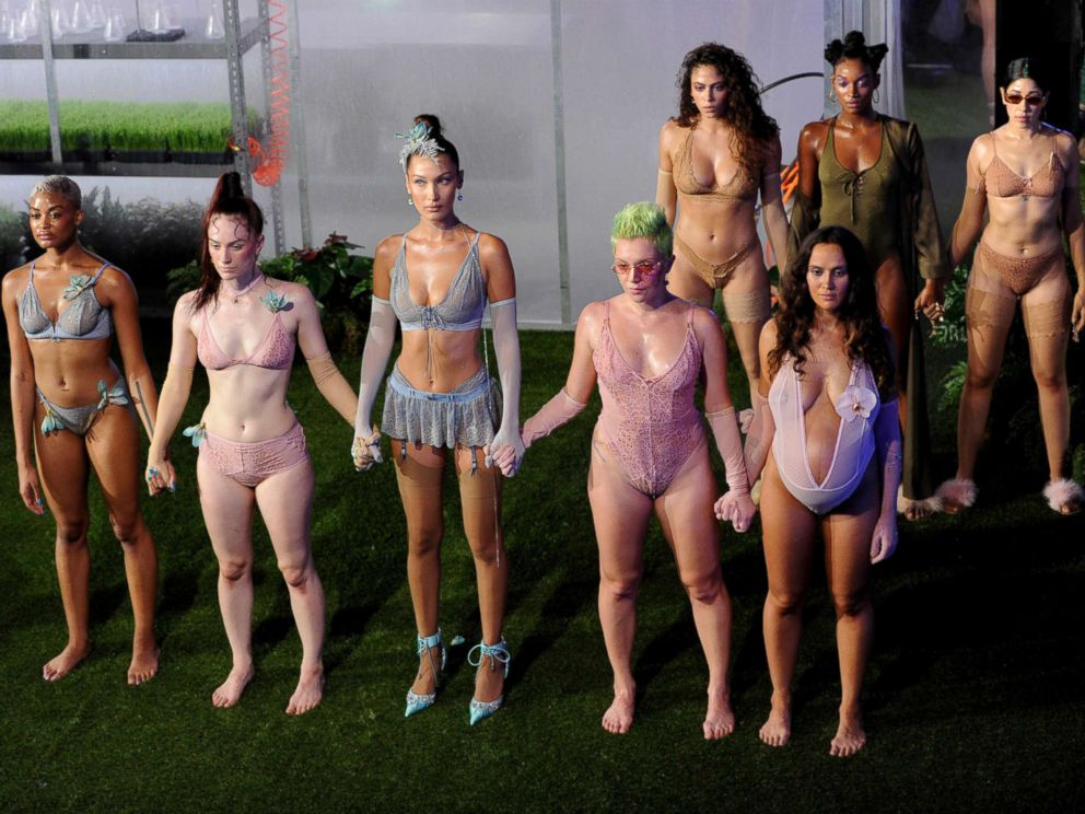 PHOTO: Bella Hadid, center, and fellow models wear Savage x Fenty fashions during a performance at the Brooklyn Navy Yard at the end of Fashion Week, Sept. 12, 2018.