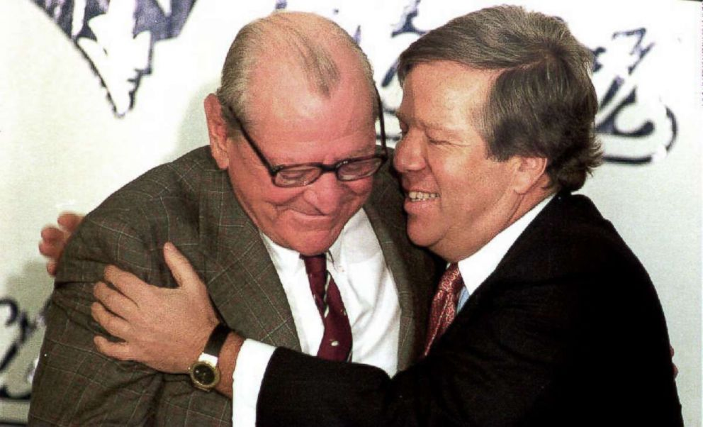 Boston businessman Robert Kraft, right, hugs James Orthwein during a press conference in Boston, concerning his purchase of the New England Patriots football team in this Jan. 21, 1994 file photo.