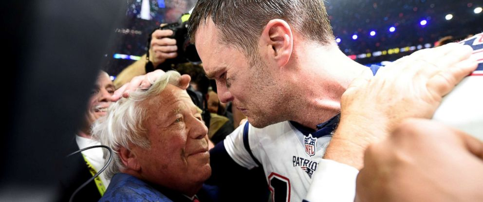 PHOTO: New England Patriots owner Robert Kraft and Tom Brady of the New England Patriots celebrate after defeating the Atlanta Falcons during Super Bowl 51 at NRG Stadium, Feb. 5, 2017, in Houston.