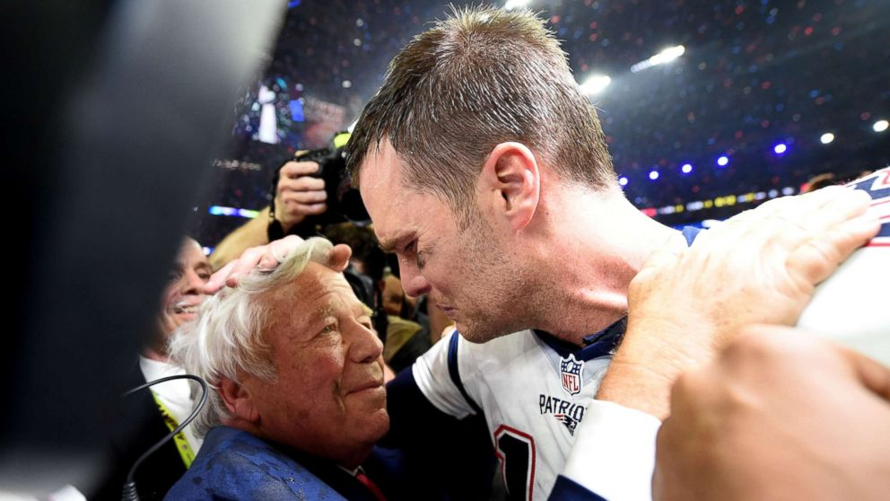 New England Patriots owner Robert Kraft and Tom Brady of the New England Patriots celebrate after defeating the Atlanta Falcons during Super Bowl 51 at NRG Stadium, Feb. 5, 2017, in Houston.