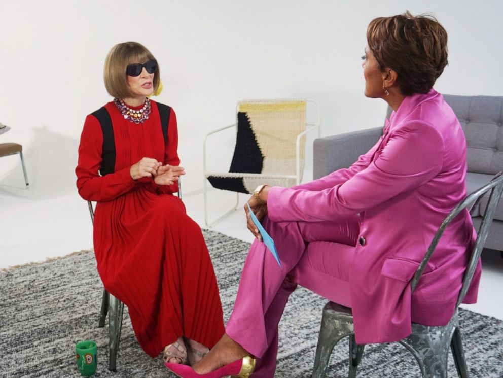 PHOTO: Good Morning America co-anchor Robin Roberts interviews Vogue editor-in-chief Anna Wintour on September 4, 2019, in New York.