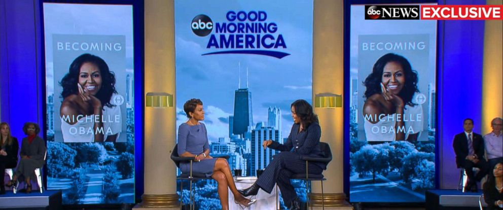 """PHOTO: Former first lady Michelle Obama speaks out in an exclusive live interview with ABC News Robin Roberts in Chicago about her memoir, """"Becoming."""""""