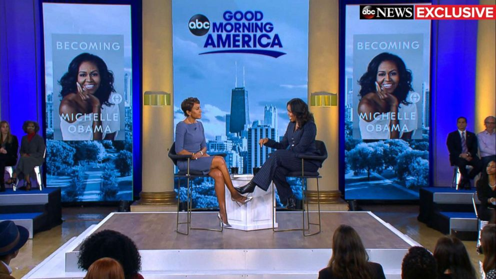 """Former first lady Michelle Obama speaks out in an exclusive live interview with ABC News' Robin Roberts in Chicago about her memoir, """"Becoming."""""""
