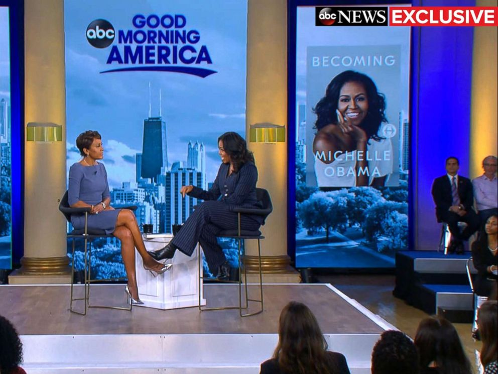 PHOTO: Former first lady Michelle Obama speaks out in an exclusive live interview with ABC News Robin Roberts in Chicago about her memoir, Becoming.