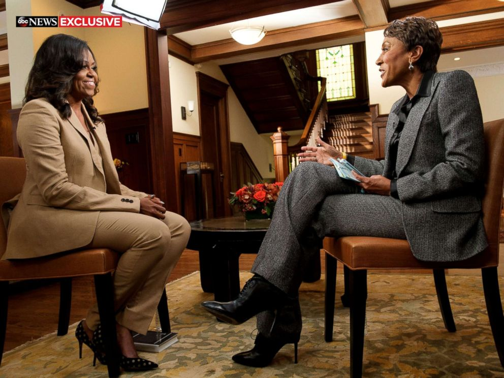 PHOTO: Former first lady Michelle Obama speaks to ABC News Robin Roberts for a prime-time ABC special on her memoir, Becoming.