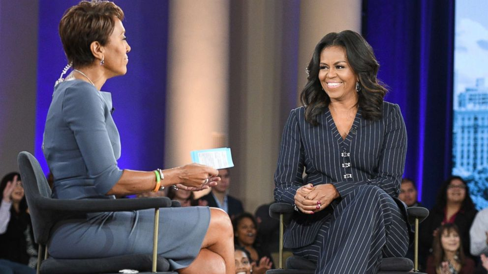 """Former first lady Michelle Obama speaks to ABC News' Robin Roberts in Chicago about her memoir, """"Becoming,"""" Nov. 13, 2018."""