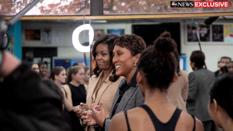 "Former first lady Michelle Obama speaks to ABC News' Robin Roberts for a prime-time ABC special on her memoir, ""Becoming."""