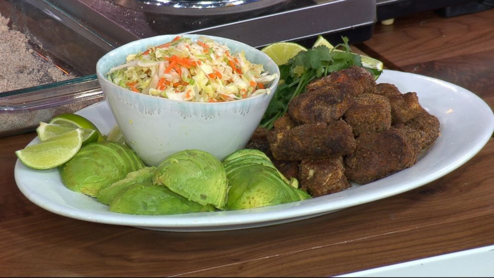 Rocco DiSpirito's fried chicken with coleslaw and avocado.