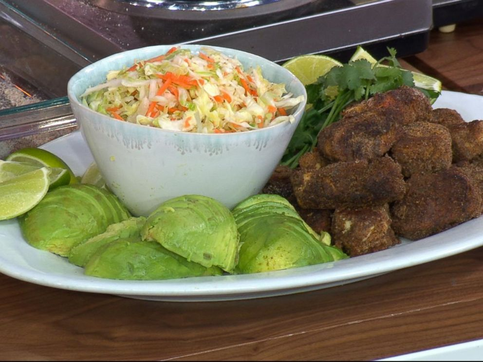 PHOTO: Rocco DiSpiritos fried chicken with coleslaw and avocado.