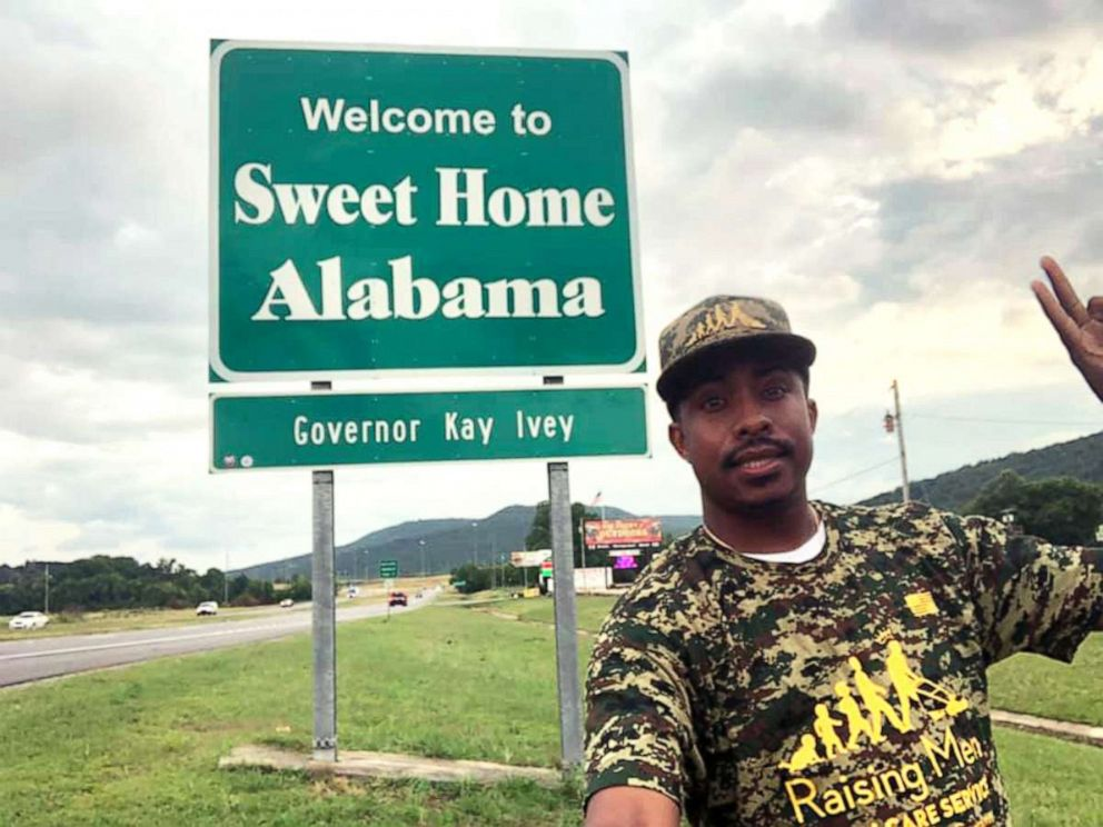 PHOTO: In this undated photo, Rodney Smith Jr. is shown in Alabama as he travels to all 50 states to mow lawns for free for veterans.