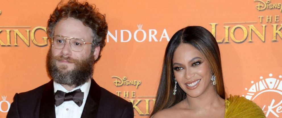 """PHOTO: Seth Rogen and Beyonce attend """"The Lion King"""" film premiere in London, July 14, 2019."""