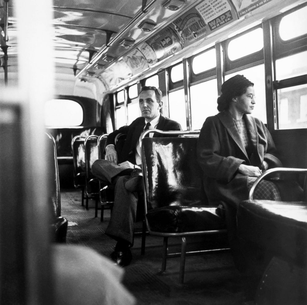 PHOTO: Rosa Parks sits in the front of a bus in Montgomery, Alabama, after the Supreme Court ruled segregation illegal on the city bus system, Dec. 21, 1956.