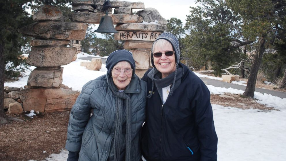 103-year-old Rose Torphy and her daughter Cheri Stoneburner pose for a photo at Grand Canyon National Park.