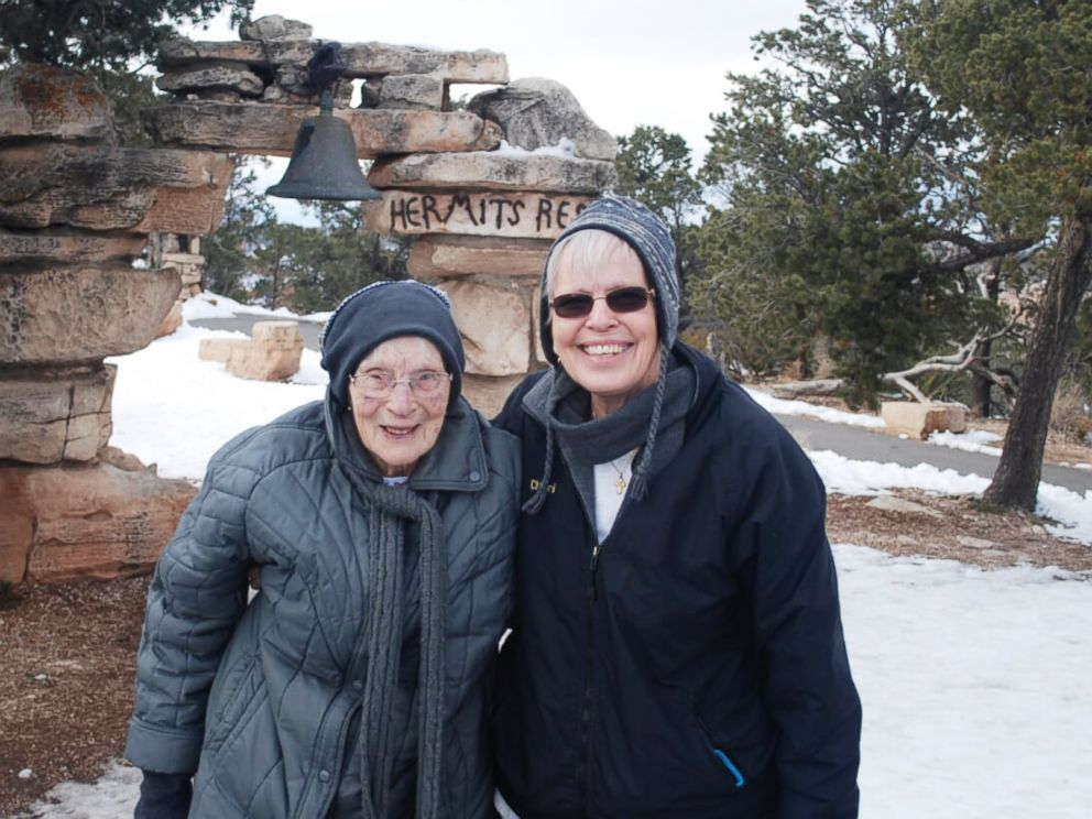 PHOTO: 103-year-old Rose Torphy and her daughter Cheri Stoneburner pose for a photo at Grand Canyon National Park.