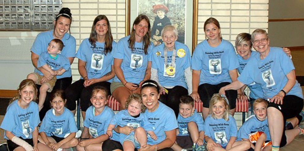 Rose Torphy poses with five generations of her family. Top row: Jessica Pasco Holding Archer Pasco, Trisha Morgan, Lori Morgan, Rose Torphy, Nikki Fraught, Lisa Adamczyk, Cheri Stoneburner. Bottom row: Trinity Ullrich, Breanna Ullrich, Autumn Greer, Chase Kingery, Michelle Kingery, Cooper Kingery, Olivia Fraught, Jack Fraught.