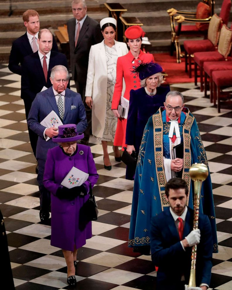 Britain's Queen Elizabeth II, Prince Andrew, Duke of York, Prince Charles, Prince of Wales, Camilla, Duchess of Cornwall, Prince William, Duke of Cambridge, Catherine, Duchess of Cambridge, Prince Harry, Duke of Sussex, and Meghan, Duchess of Sussex, leave after attending the Commonwealth Day service at Westminster Abbey in London on March 11, 2019.