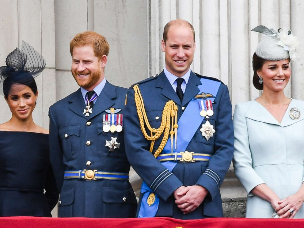 PHOTO: Meghan, Duchess of Sussex, Prince Harry, Duke of Sussex, Prince William, Duke of Cambridge and Catherine, Duchess of Cambridge at Buckingham Palace to view a flypast to mark the centenary of the Royal Air Force, July 10, 2018, in London.
