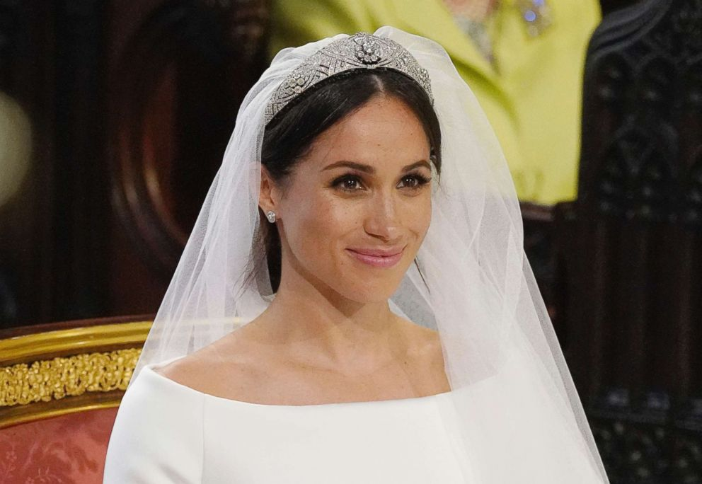 PHOTO: Meghan Markle smiles during her wedding ceremony to Britains Prince Harry at St. Georges Chapel in Windsor Castle in Windsor, May 19, 2018.