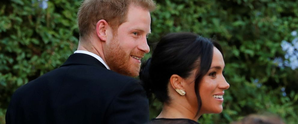 PHOTO: The Duke and Duchess of Sussex, Prince Harry and his wife Meghan arrive to attend the wedding of fashion designer Misha Nonoo at Villa Aurelia in Rome, Italy, September 20, 2019.