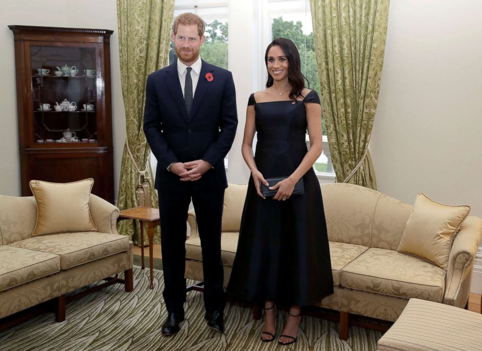 PHOTO: Prince Harry and Meghan, Duchess of Sussex wait to meet the New Zealand Prime Minister Jacinda Ardern, at Government House, Oct. 28, 2018, in Wellington, New Zealand.