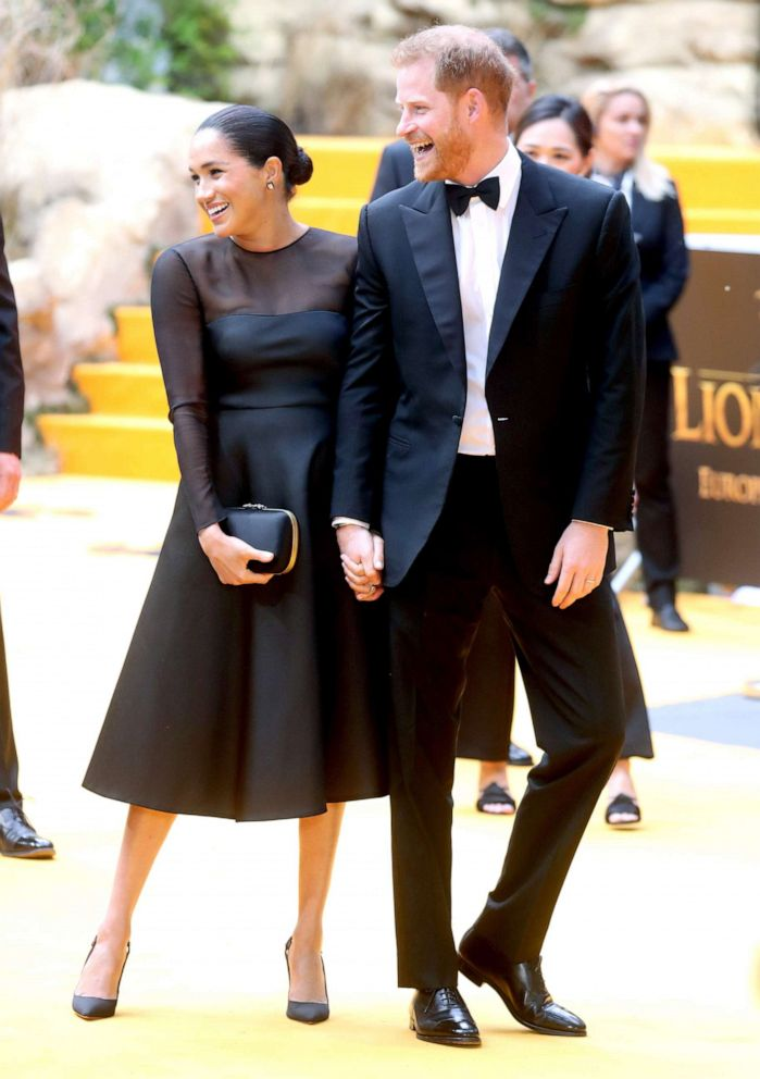 PHOTO: Prince Harry, Duke of Sussex and Meghan, Duchess of Sussex attend The Lion King European Premiere at Leicester Square, July 14, 2019, in London.