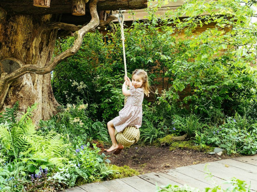 PHOTO: Princess Charlotte, daughter of Prince William and Kate, Duchess of Cambridge plays in the Adam White and Andree Davies co-designed garden ahead of the RHS Chelsea Flower Show in London, in this image released on, May 19, 2019.